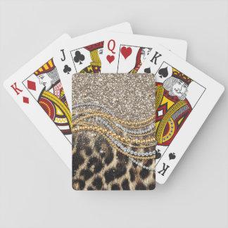 Falso estampado de animales del leopardo de moda barajas de cartas