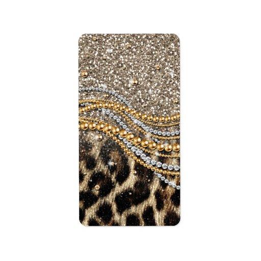 Falso estampado de animales del leopardo de moda etiqueta de dirección