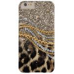 Falso estampado de animales del leopardo de moda funda de iPhone 6 plus barely there