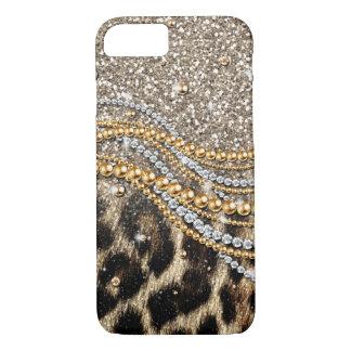 Falso estampado de animales del leopardo de moda funda iPhone 7