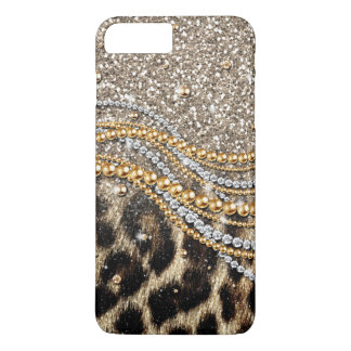 Falso estampado de animales del leopardo de moda funda iPhone 7 plus