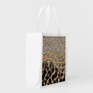 Falso estampado de animales del leopardo de moda h bolsa de la compra