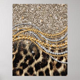 Falso estampado de animales del leopardo de moda h poster