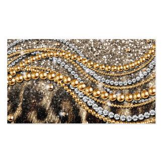Falso estampado de animales del leopardo de moda h tarjeta de negocio