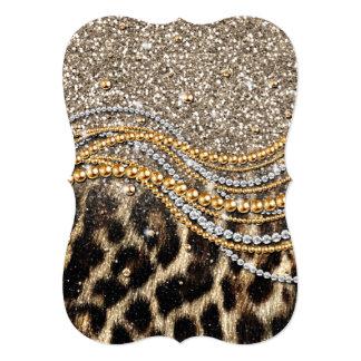 """Falso estampado de animales del leopardo de moda invitación 5"""" x 7"""""""