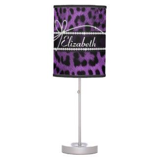 Falso estampado de animales negro púrpura hermoso  lámpara de mesilla de noche