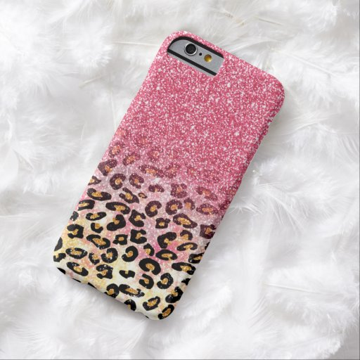 Falso estampado de animales rosado lindo del funda de iPhone 6 barely there