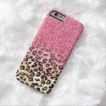 Falso estampado de animales rosado lindo del funda para iPhone 6 barely there