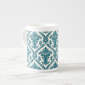 Falso estampado de flores del damasco del brillo d taza de porcelana