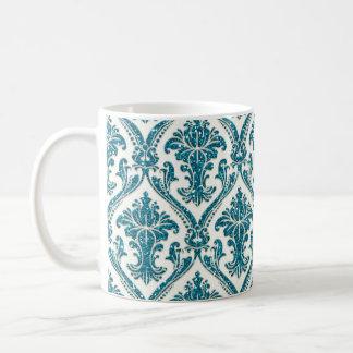 Falso estampado de flores del damasco del brillo taza clásica