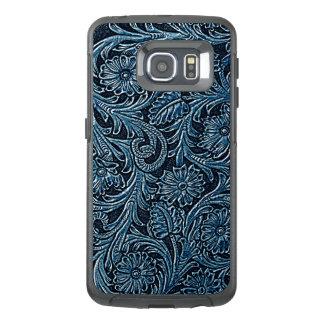 Falso estampado de flores elegante de cuero azul funda OtterBox para samsung galaxy s6 edge