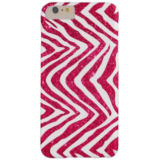 Falso estampado de zebra atractivo rosado del funda de iPhone 6 plus barely there