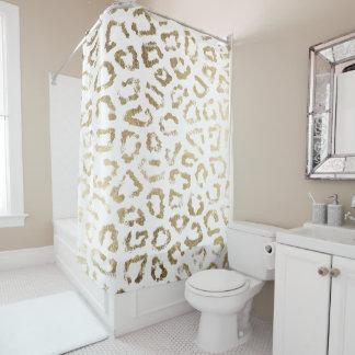 Falso estampado leopardo elegante blanco moderno cortina de baño