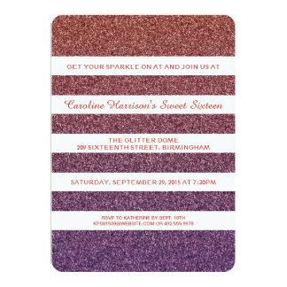 Falso fiesta púrpura anaranjado del dulce 16 de invitación 12,7 x 17,8 cm