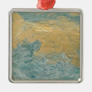 Falso final de la turquesa de cobre adorno navideño cuadrado de metal