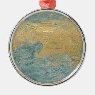 Falso final de la turquesa de cobre adorno navideño redondo de metal