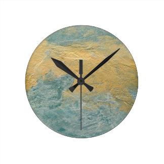 Falso final de la turquesa de cobre reloj redondo mediano
