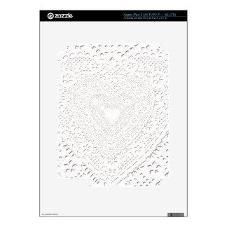 Falso fondo blanco de la tela del cordón iPad 3 pegatinas skins