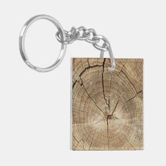 Falso fondo de los anillos de árbol llavero cuadrado acrílico a doble cara
