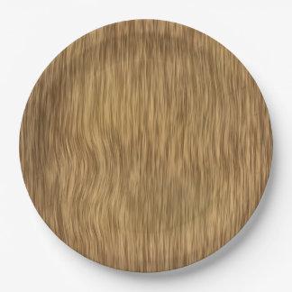 Falso fondo de madera áspero en color natural plato de papel de 9 pulgadas