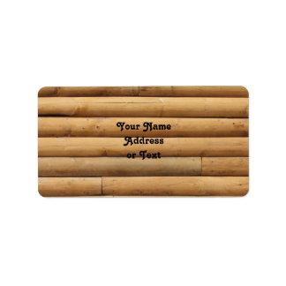 Falso fondo del apartadero de la cabaña de madera etiqueta de dirección