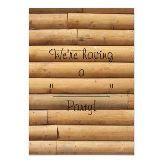 """Falso fondo del apartadero de la cabaña de madera invitación 5"""" x 7"""""""
