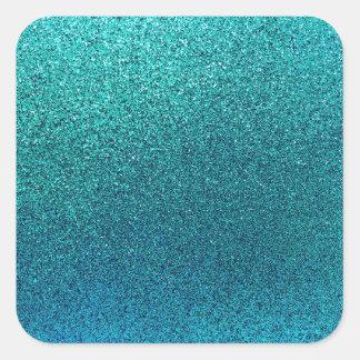 Falso fondo del brillo de las azules turquesas del pegatina cuadrada