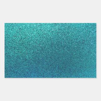 Falso fondo del brillo de las azules turquesas del pegatina rectangular