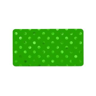 Falso fondo metálico verde del lunar de la hoja etiquetas de dirección