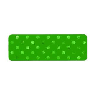 Falso fondo metálico verde del lunar de la hoja etiquetas de remite