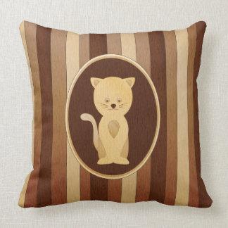 Falso gato de madera lindo del embutido cojines
