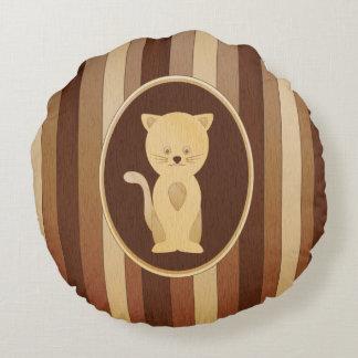 Falso gato de madera lindo del embutido cojín redondo