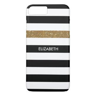 FALSO Glitz y nombre del oro de las rayas negras Funda iPhone 7 Plus