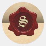 Falso gótico del vintage del sello y del pergamino pegatina redonda