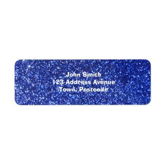 Falso gráfico azul marino del brillo etiquetas de remite