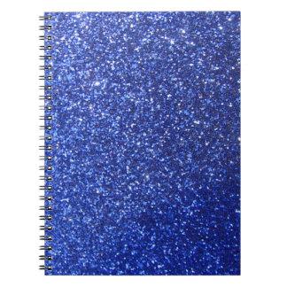 Falso gráfico azul marino del brillo libreta