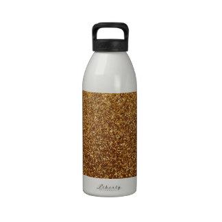 Falso gráfico del brillo del oro botella de agua reutilizable