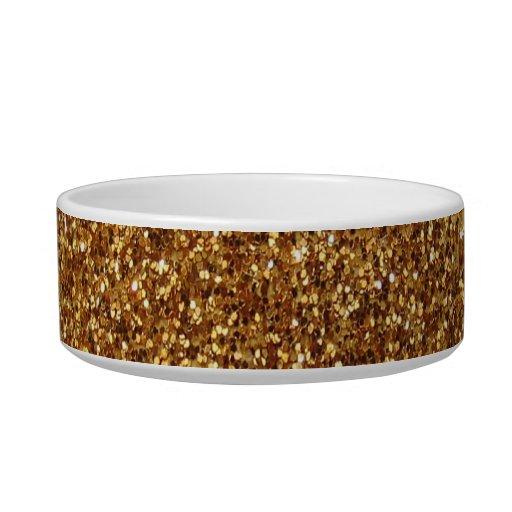 Falso gráfico del brillo del oro tazones para comida para gato