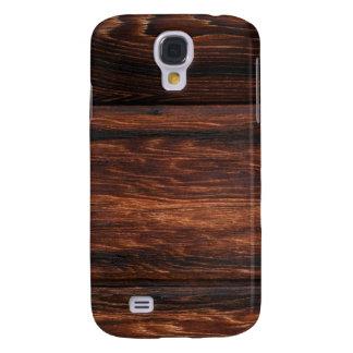 Falso grano de madera de Brown Funda Para Galaxy S4