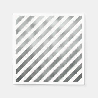 Falso gris diagonal metálico del blanco de gris servilletas desechables
