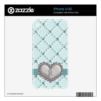 Falso iPhone acolchado 4 4s S del corazón del diam iPhone 4S Calcomanía