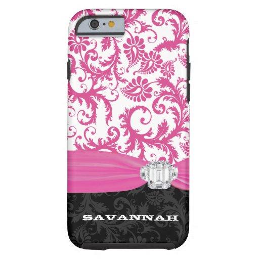 Falso iPhone personalizado rosa del damasco del Funda De iPhone 6 Tough