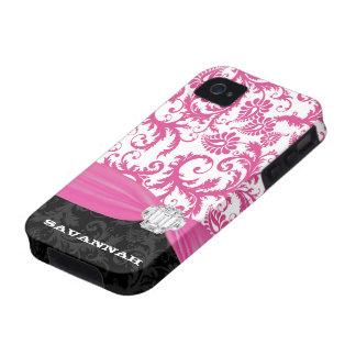 Falso iPhone personalizado rosa del damasco del iPhone 4 Funda