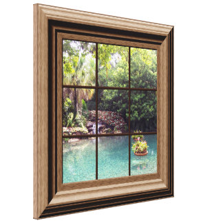 Falso jardín del agua del zen de la escena de la impresion de lienzo