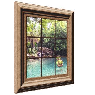 Falso jardín del agua del zen de la escena de la impresiones de lienzo