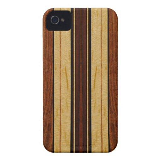 Falso Koa iPhone de madera de la tabla hawaiana de Case-Mate iPhone 4 Protectores
