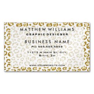 Falso leopardo brillante atractivo del oro tarjetas de visita magnéticas (paquete de 25)