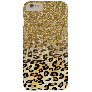 Falso leopardo de moda femenino lindo del brillo funda para iPhone 6 plus barely there