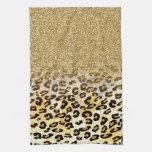 Falso leopardo de moda femenino lindo del brillo toallas de cocina