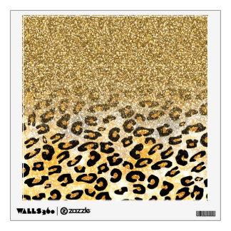 Falso leopardo de moda femenino lindo del brillo vinilo decorativo